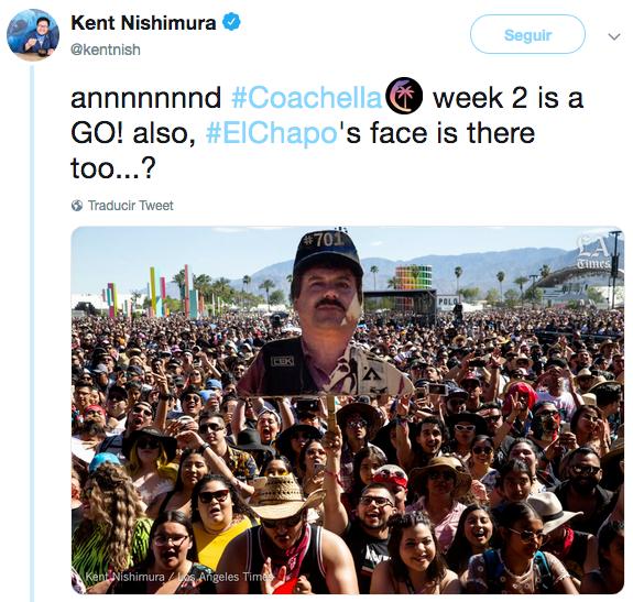 Foto del Chapo Guzmán en los Tucanes de Tijuana en Coachella