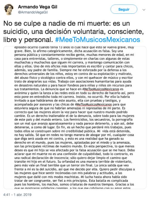 Confirman muerte de Armando Vega Gil