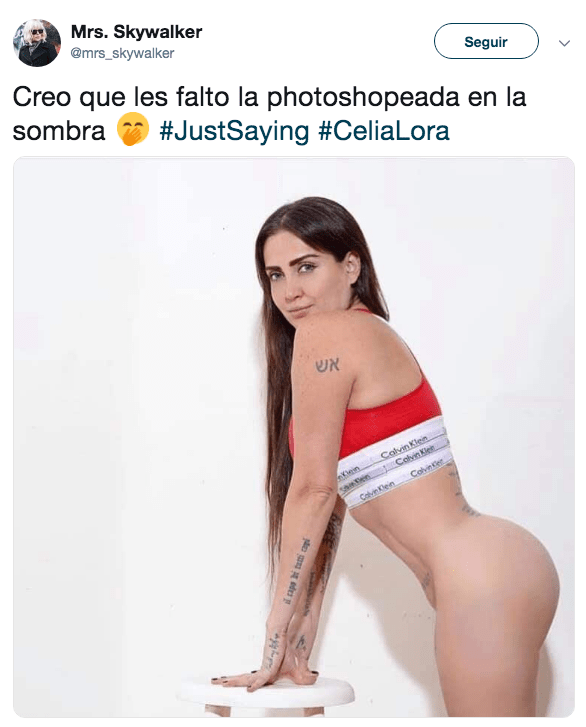 Destrozan a Celia Lora por usar photoshop