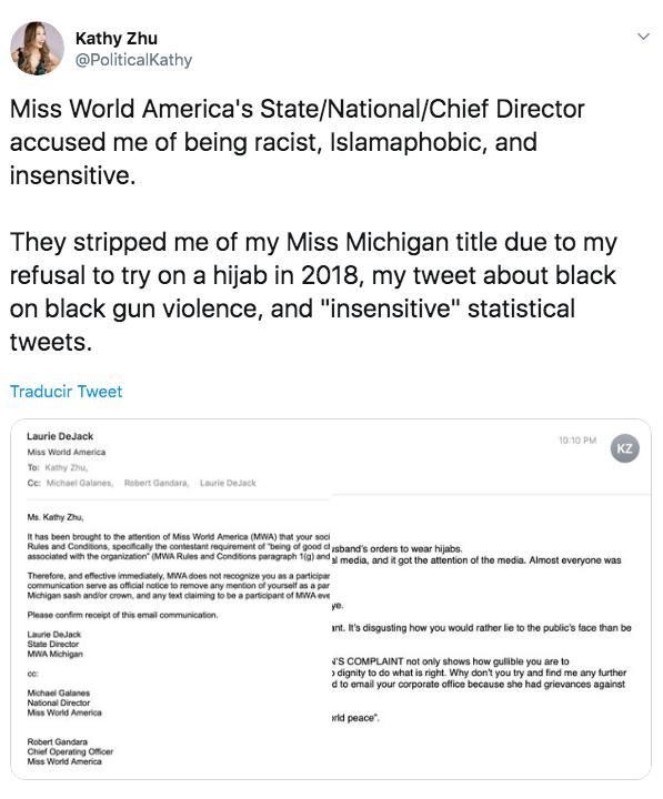 Destronan a reina de belleza de Estados Unidos por comentarios racistas