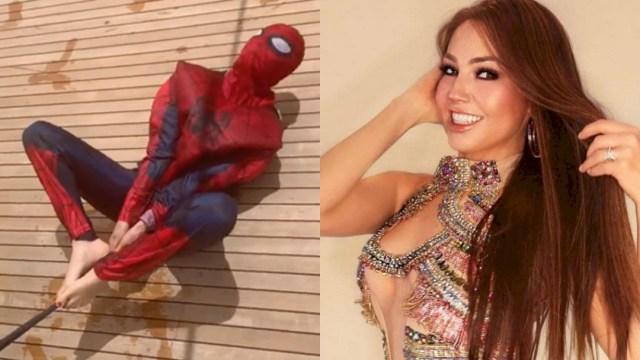 Thalía, Thalía Spiderman, Thalía Italia, Thalía Disfrazada Spiderman, Thalía Se Disfraza De Spiderman, Thalía Spiderman Homecoming