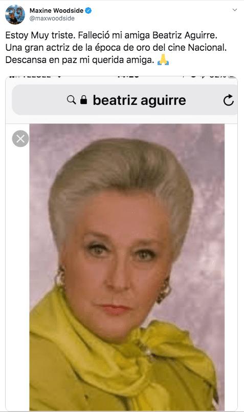 Muere la actriz Beatriz Aguirre a los 94 años de edad