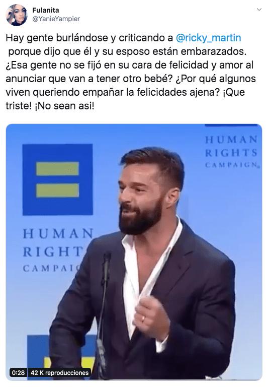 """Critican a Ricky Martin y su esposo por decir que están """"embarazados"""""""