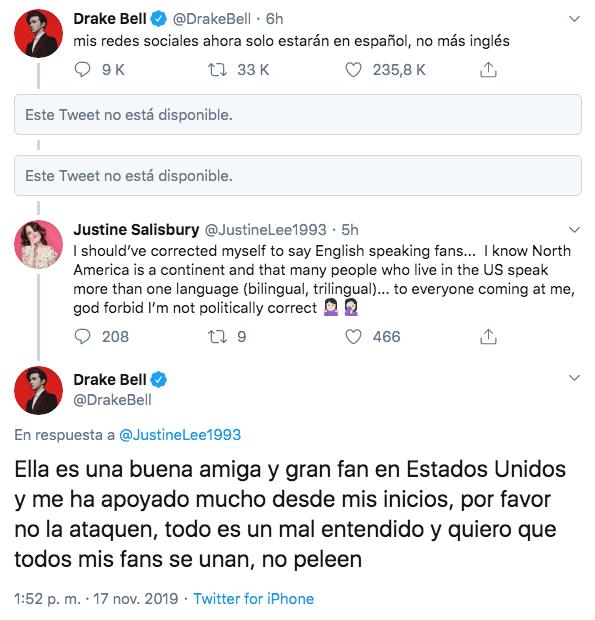 Drake Bell escribirá en sus redes sociales sólo en español