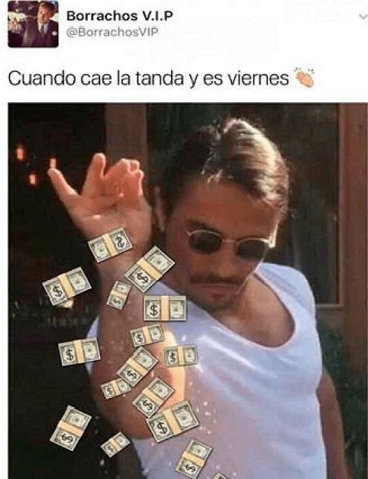 Meme de Salt Bae en quincena