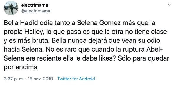 Selena Gomez comenta foto de Bella Hadid y ella borra la publicación