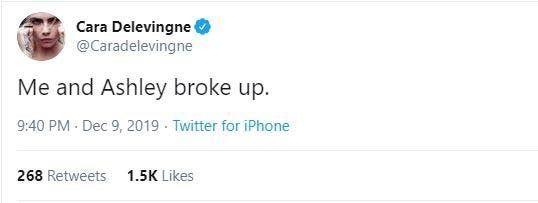 Cara Delevingne anuncia que terminó con Ashley Benson pero borra tweet