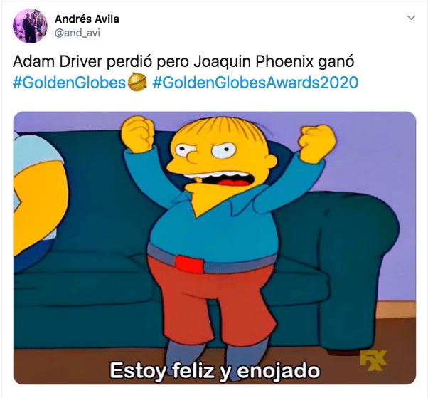 Globos de Oro gana Joaquin Phoenix a Adam Driver