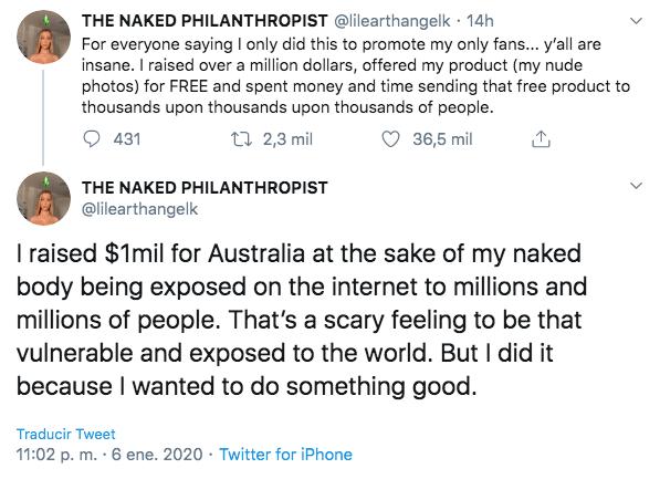 Modelo vende nudes para combatir incendios en Australia