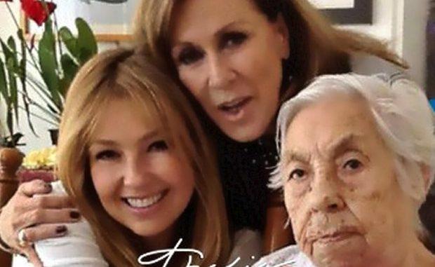 Thalía y Laura Zapata festejan cumpleaños 102 de Eva Mange