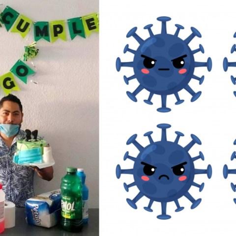 Crean pastel de coronavirus para cumpleaños en cuarentena