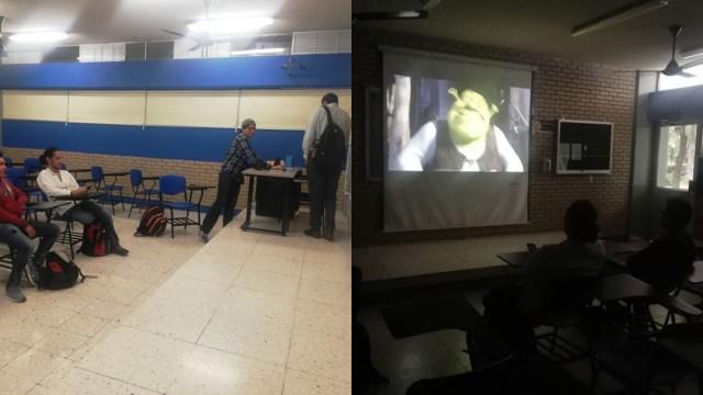 Alumnos de UANL ven Shrek durante Paro Nacional 9 Marzo 2020