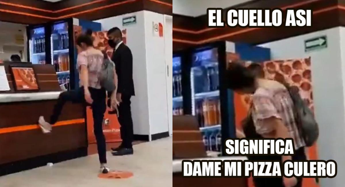 VIDEO de Lady Pizza mujer amenaza personal de Little Caesars