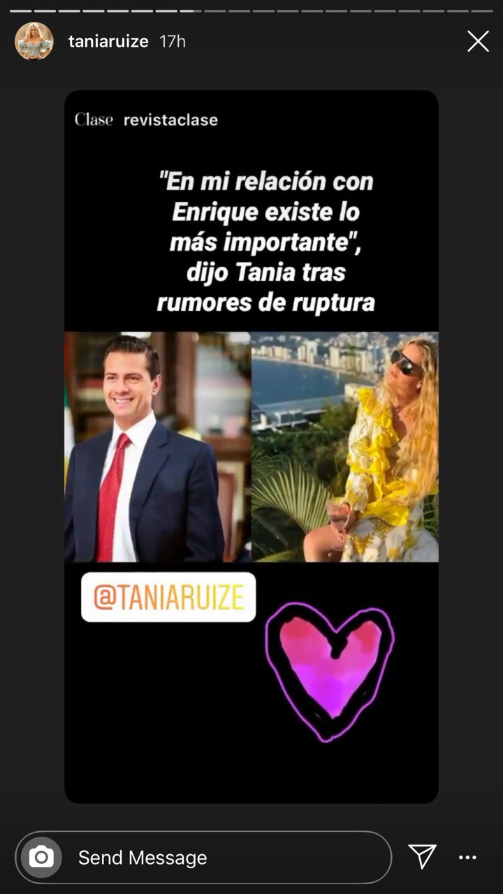 Aseguran que Tania Ruiz y Peña Nieto terminaron