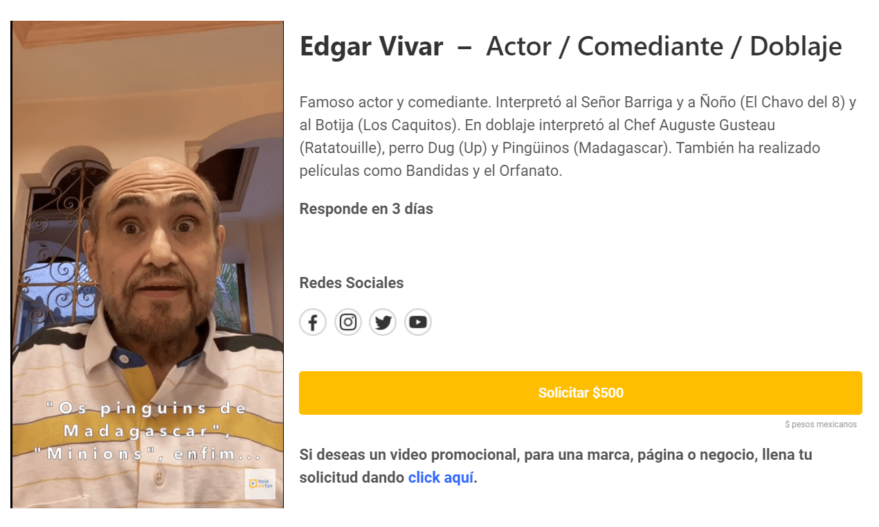 Édgar Vivar vende saludos por 500 pesos