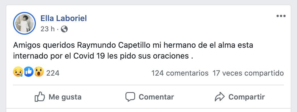 Publicacion de Facebook de Ella Laboriel