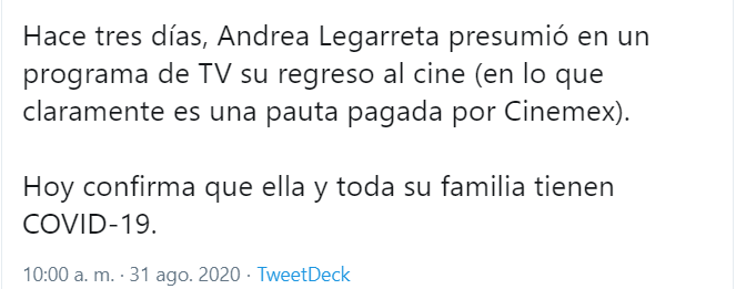 Andrea Legarreta se contagió de Covid por ir al cine