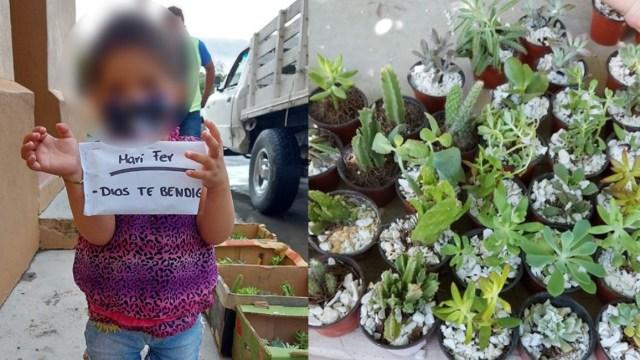 Niña vende plantas para pagar tratamiento contra cáncer