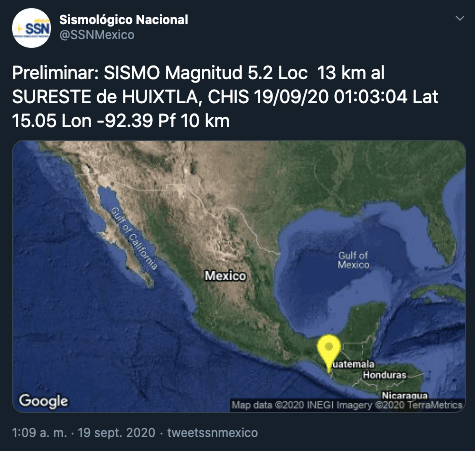 El 19 de septiembre de 2020 nos sorprende con dos temblores