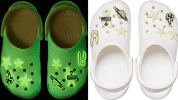 Crocs de Bad Bunny verdes y blancos