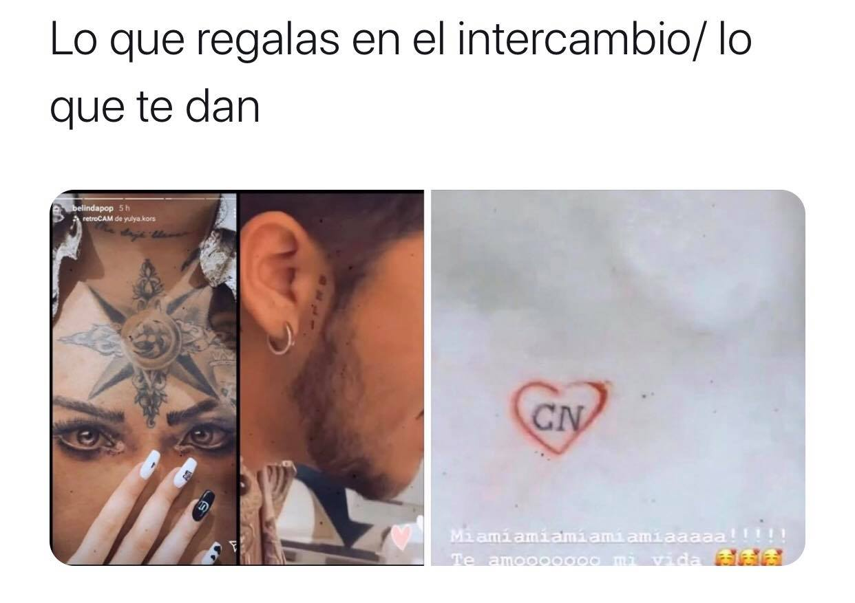 Memes de Belinda y Nodal por los tatuajes que se hicieron en pareja