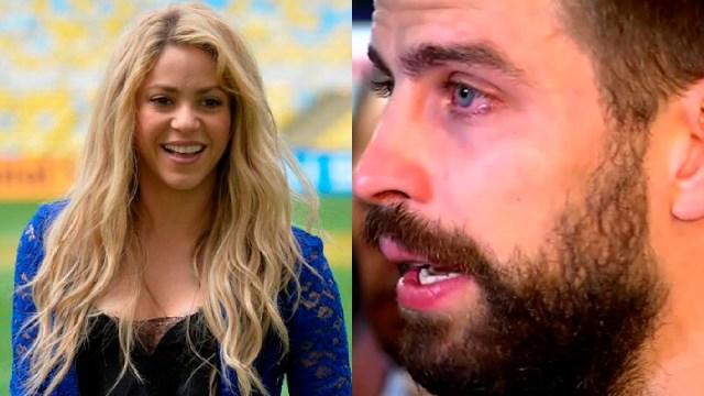 Shakira sonriendo y Piqué llorando por el falso matrimonio