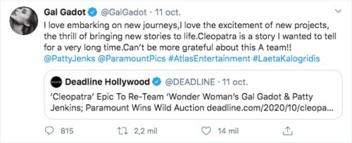 Gal Gadot habla de Cleopatra