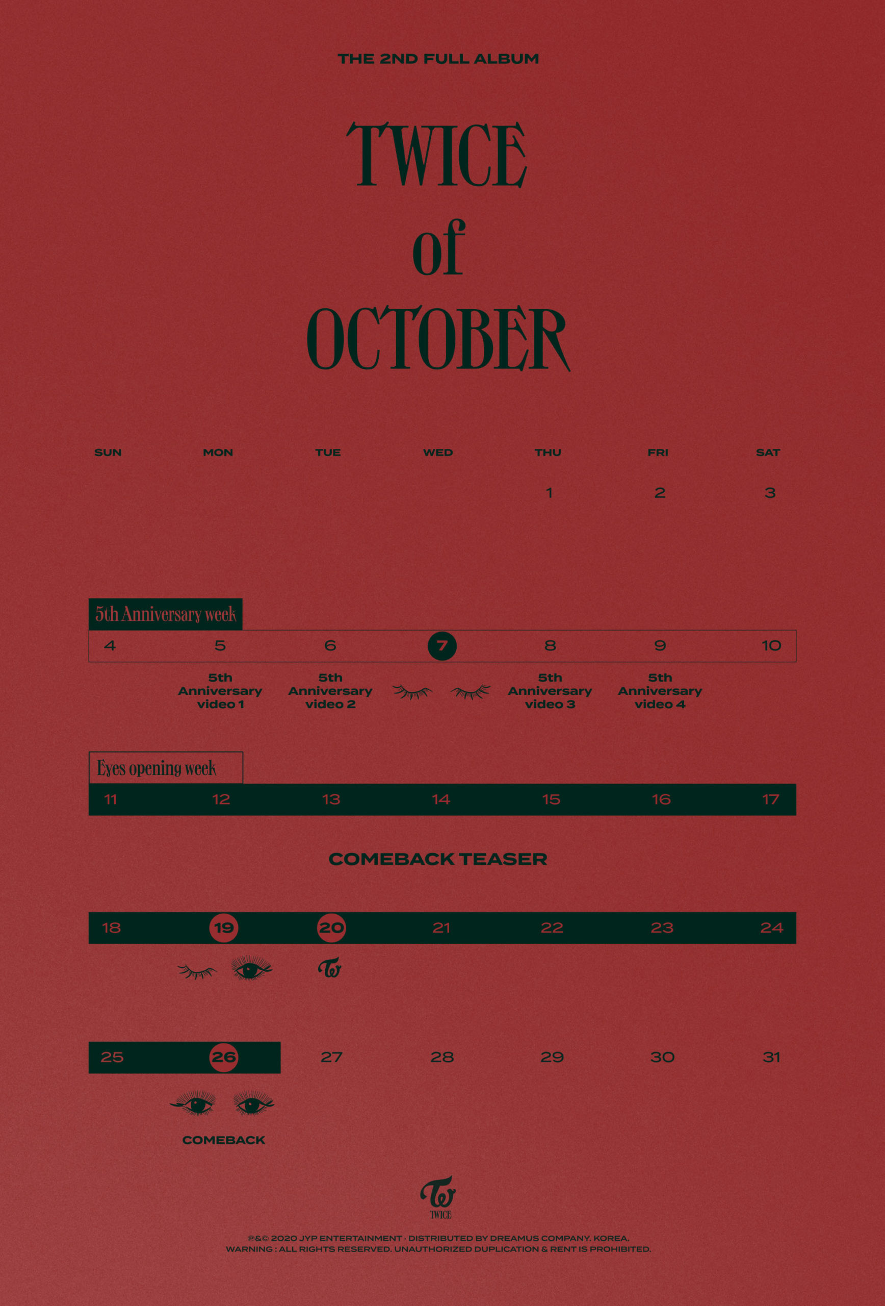 TWICE anuncia el calendario de actividades para TWICETOBER