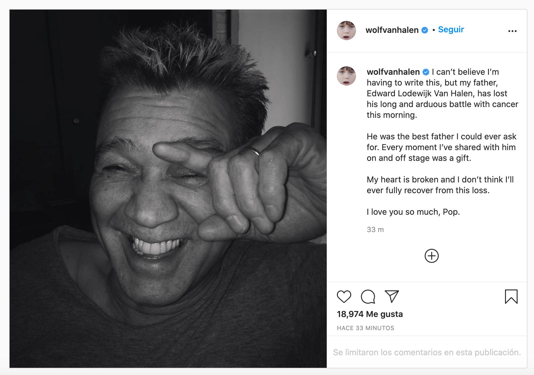 Hijo de Eddie Van Halen confirma su muerte
