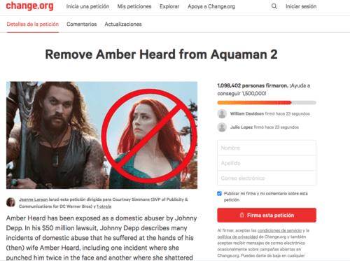 Petición change amber heard