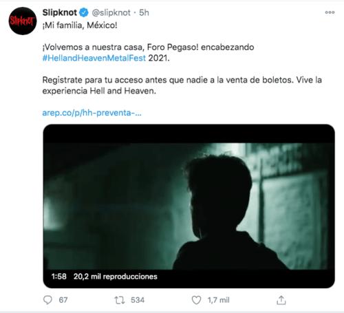 Tuit slipknot de regreso en México para el 2021