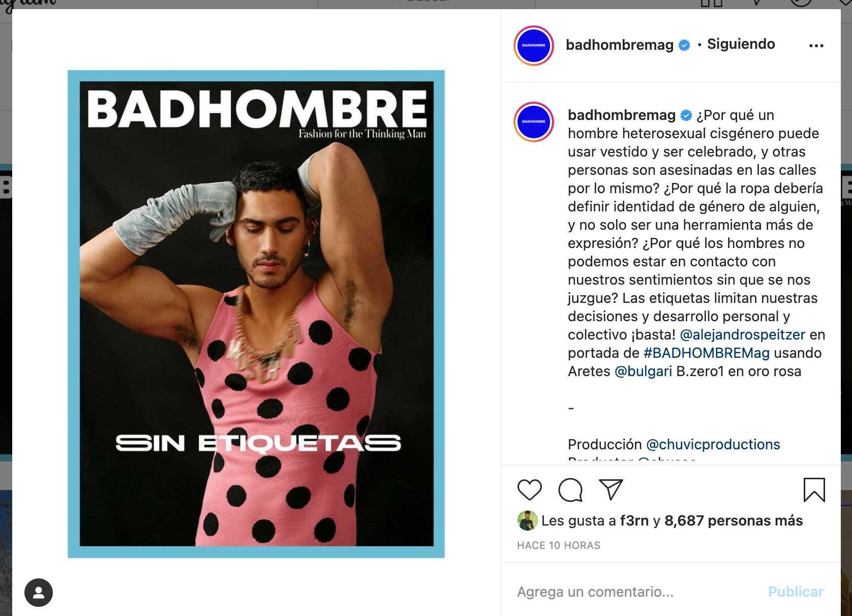 Alex Speitzer posa con vestido en badhombre magazine