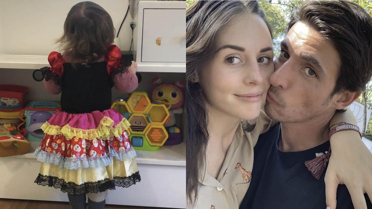 Alberto Guerra y Zuria Vega apoyan a su hijo de un año para usar vestido