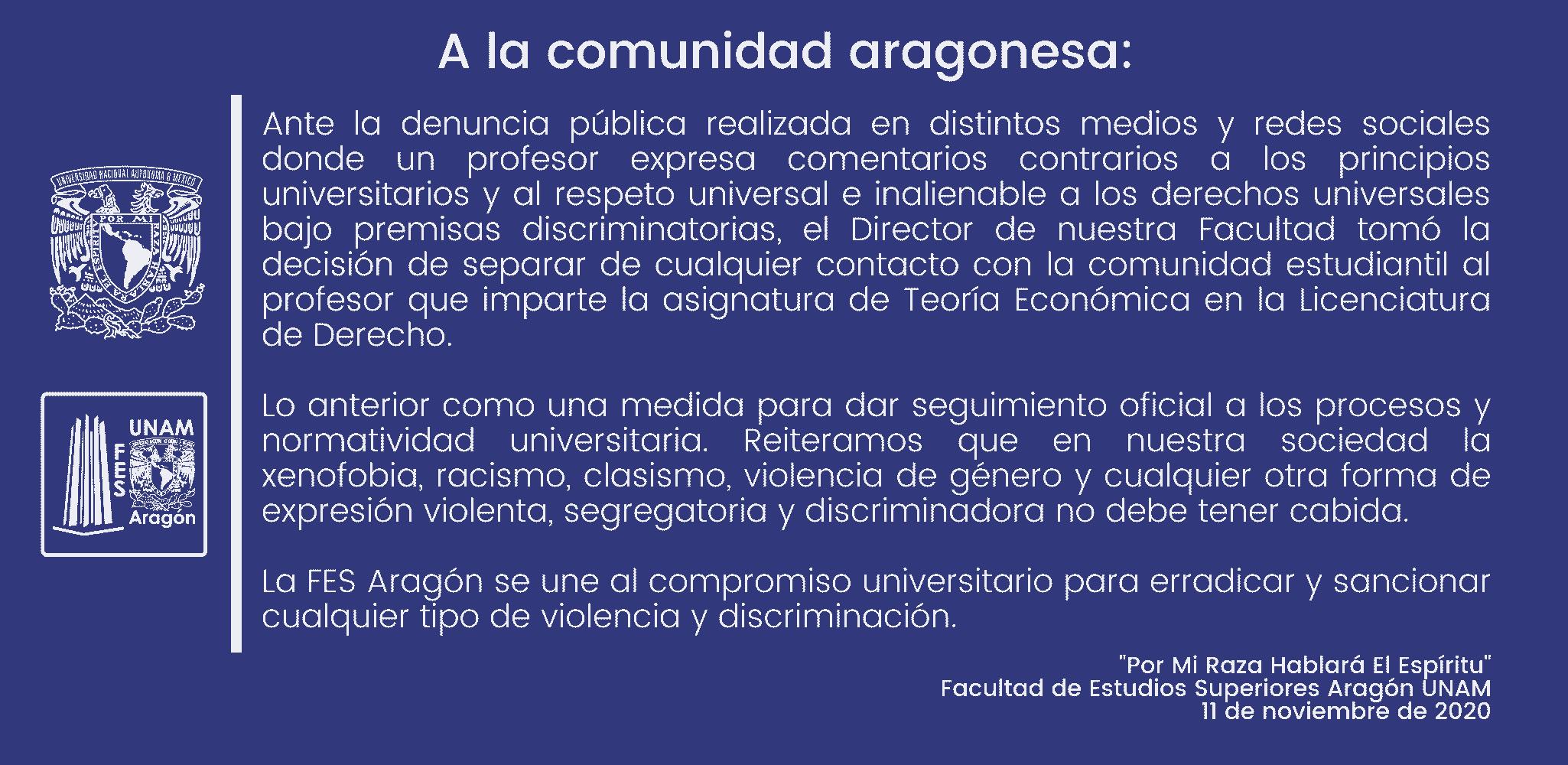 Separan a maestro de FES Aragón tras agredir inmigrantes