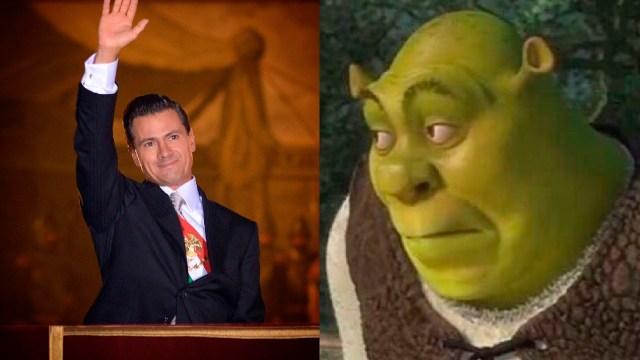 Enrique Peña Nieto feliz con su belisario domínguez y meme de shrek