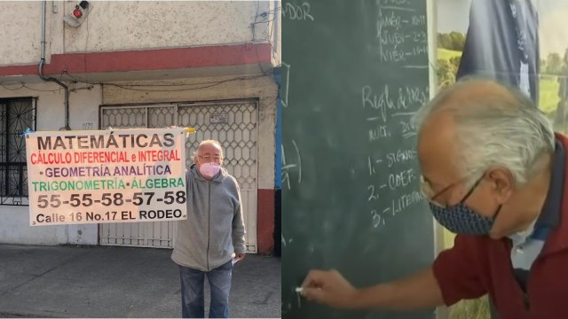 Abuelo con su cartel para dar clases de matematicas