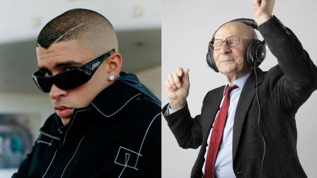 Adulto mayor escuchando musica