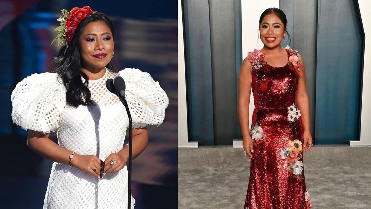 Yalitza Aparicio look blanco y rojo