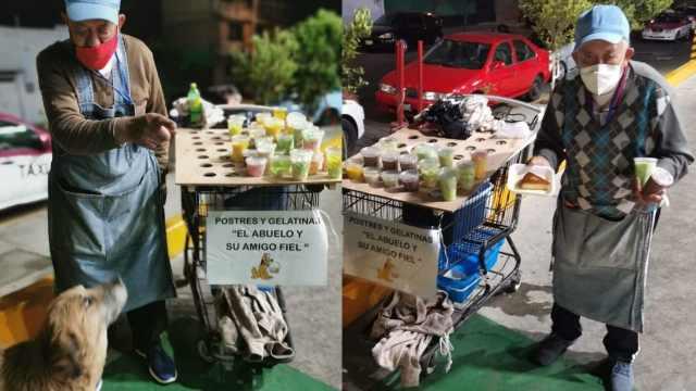 Abuelo vende gelatinas para pagar la operación de su nieto