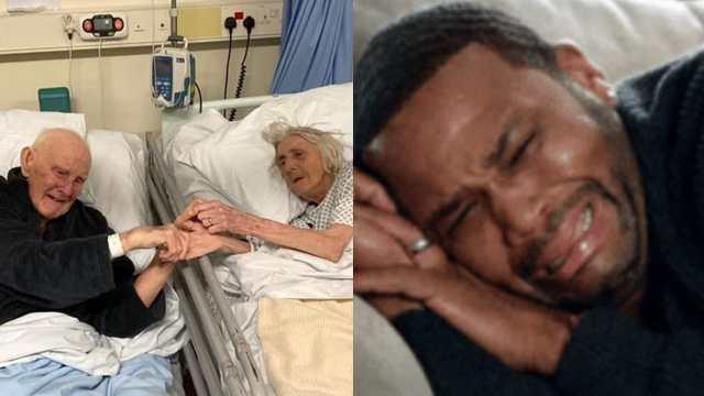 Abuelos tomados de la mano en el hospital