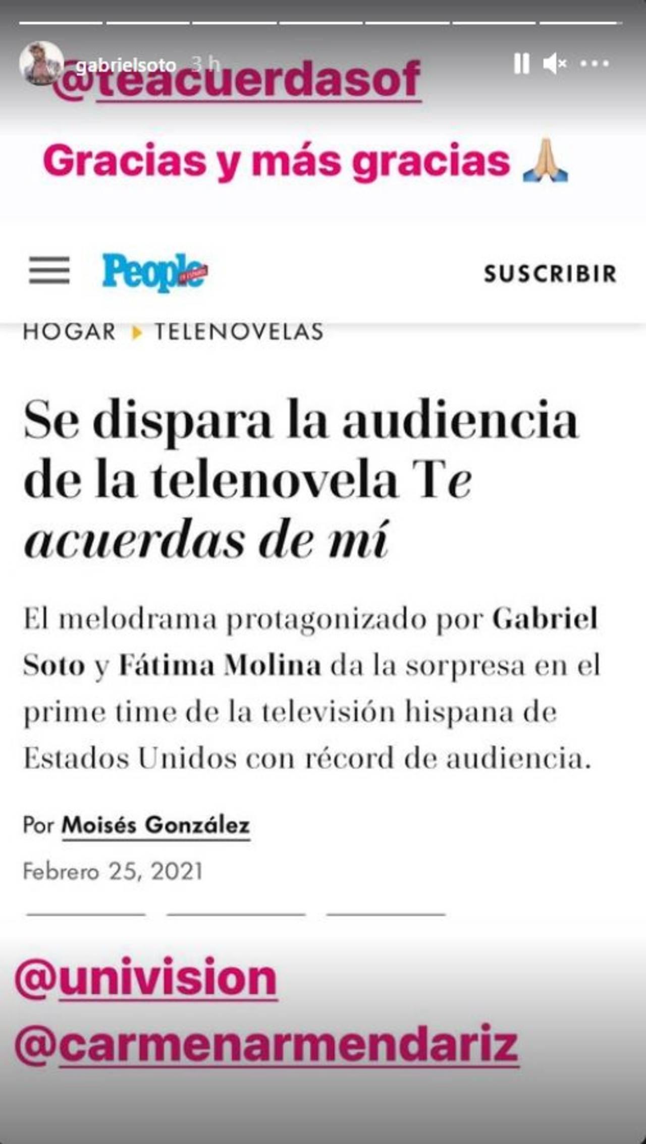 gabriel soto fatima molina rating telenovela