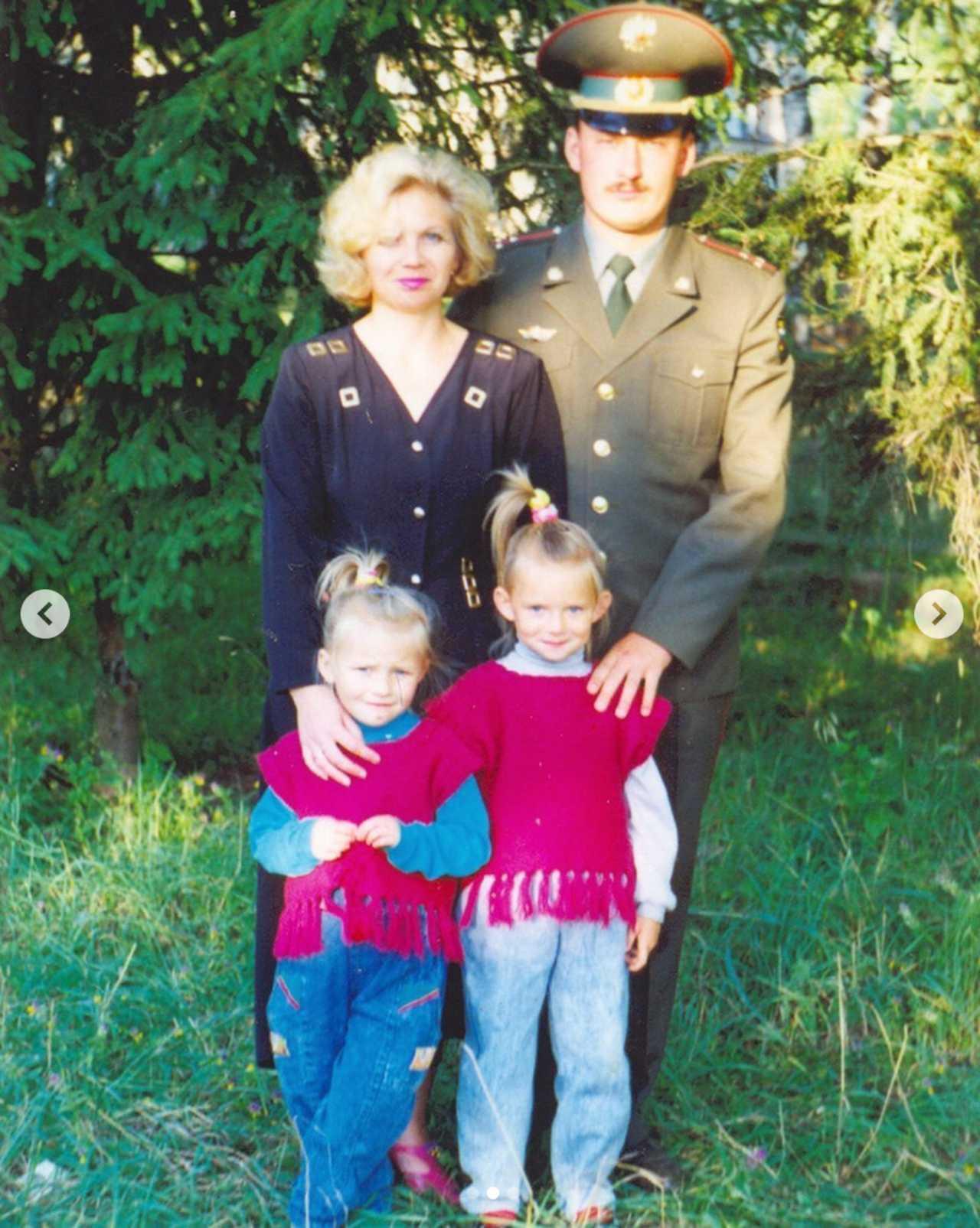 Irina Baeva de niña con sus papás