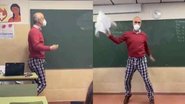 Maestro baila en pijama en clase viral TikTok