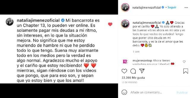 Natalia Jiménez lleva días sin bañarse