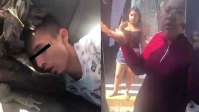 Asaltante detenido su mamá lo defiende