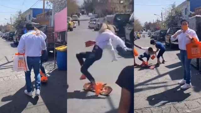 Mariana Rodríguez se convierte en meme tras caerse de una patineta