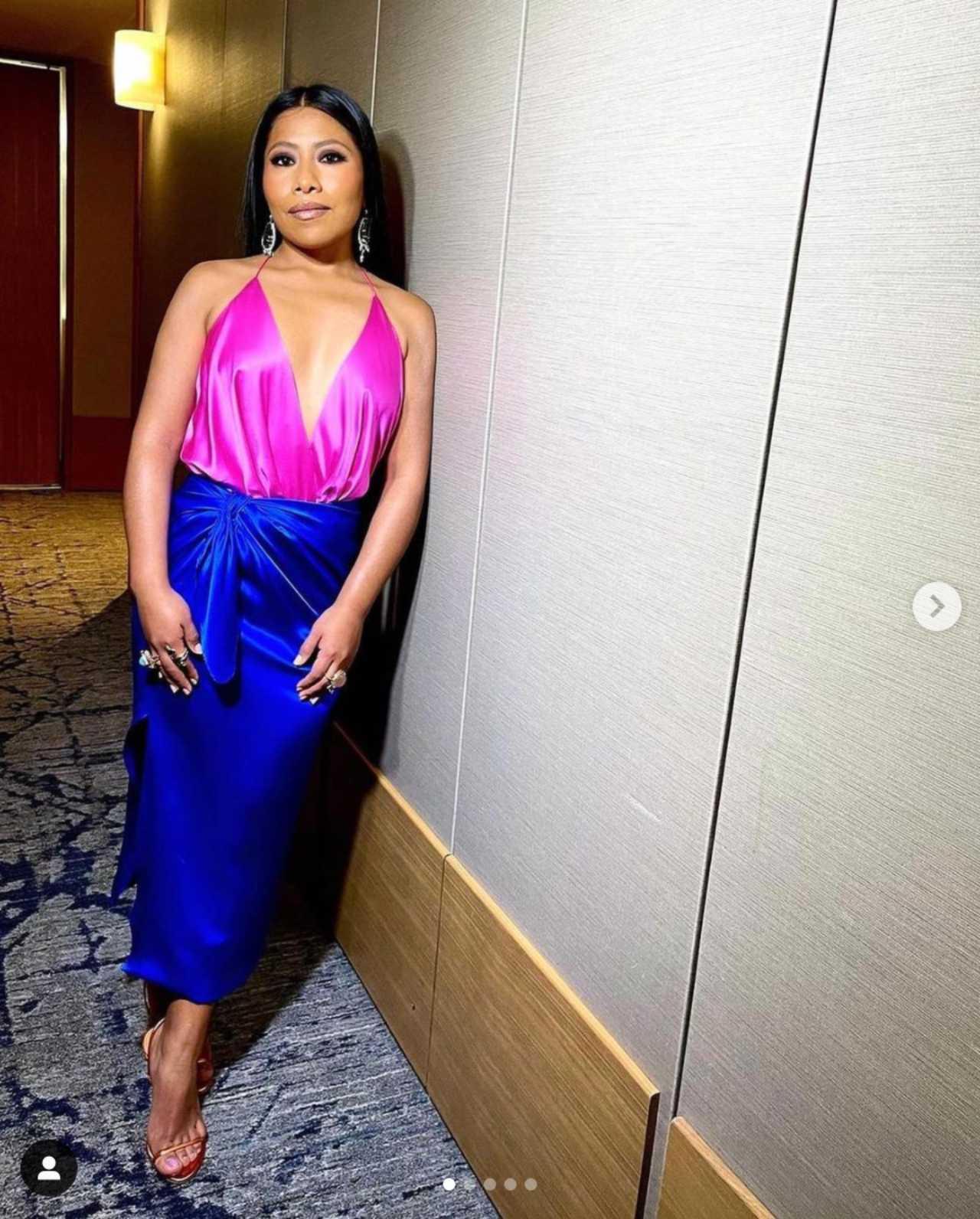 Yalitza Aparicio Martínez con su vestido de Kris Goyri