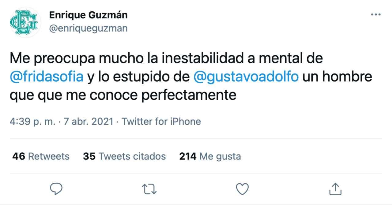 Enrique Guzmán responde acusación de abuso de Frida Sofía