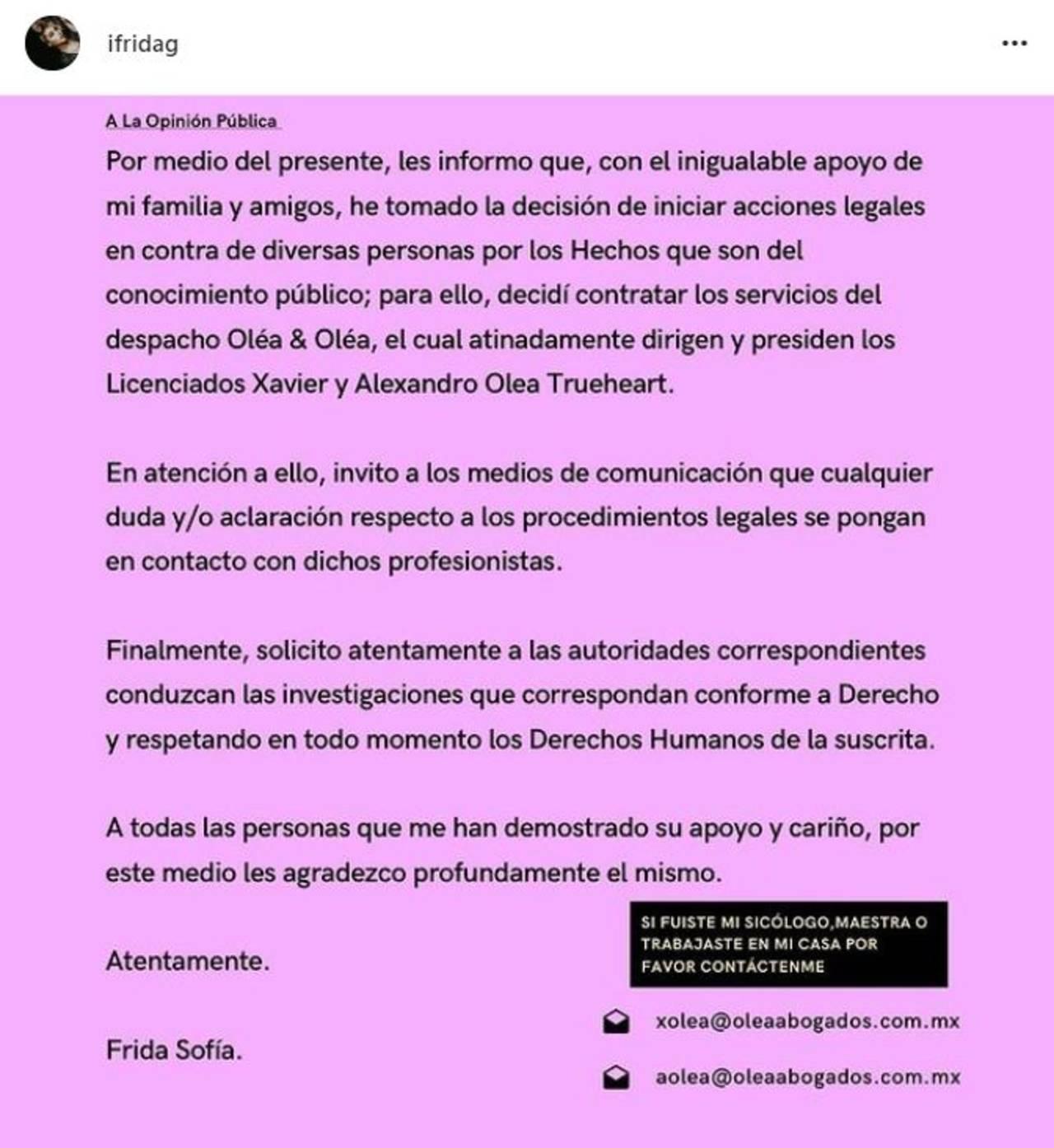 Frida Sofía inicia acciones legales Enrique Guzmán