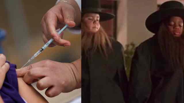 Jovenes se disfrazan abuelos vacuna Covid